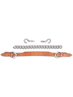 Myler Leather Noseband with Hooks and Curb Chain
